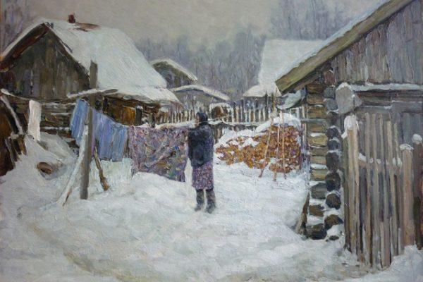 Деревенский дворик. 2011. Оргалит, масло. 42 х 60
