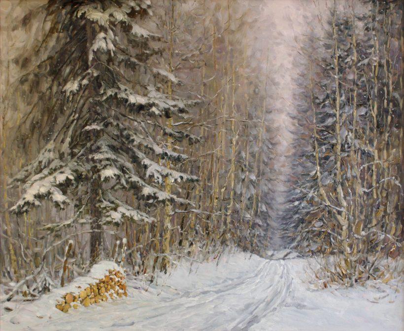 Дорога в лесу. 2009. Оргалит, масло. 80 х 100