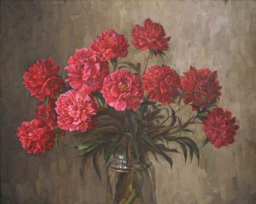 Красные пионы. 2006. 95 х 77