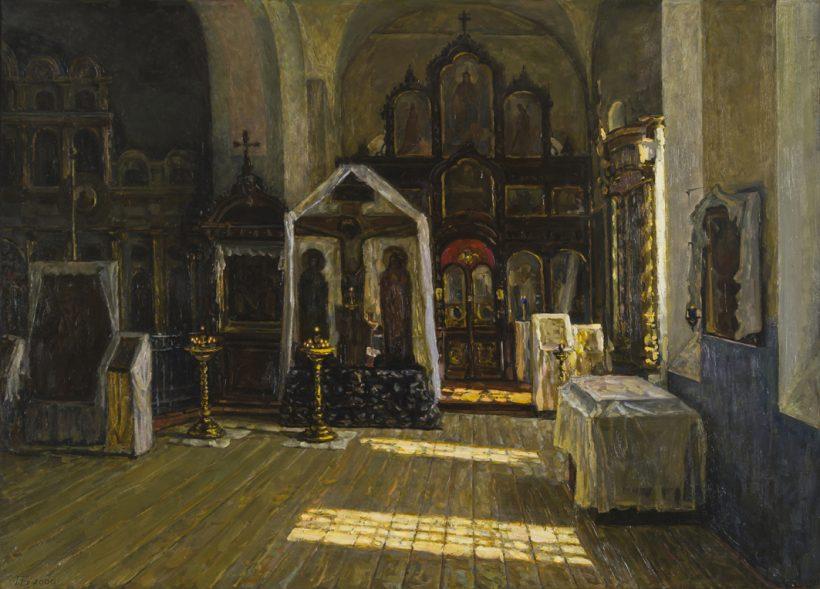 Покровский храм. Интерьер. 2006. Оргалит, масло. 74 х 103