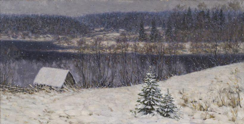 Снегопад. 2011. Холст, масло. 50 х 100