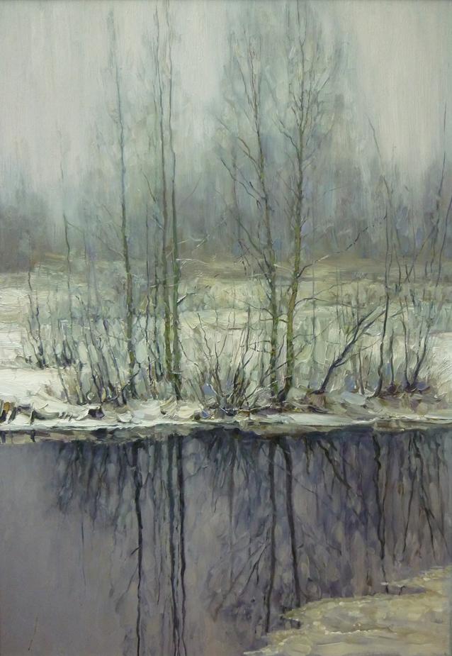 Снег выпал. 2011. Оргалит, масло. 61 х 44