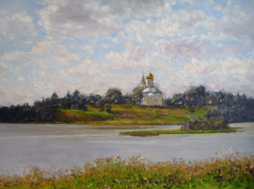 Храм у озера. 2008. 60х75